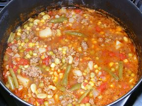 Hamburger Vegetable Beef Soup - Hamburger Vegetable Beef Soup (aka school cafeteria soup)   1 pound lean ground beef (90/10 or better) 1 small onion, diced Salt & pepper to taste 2 cans mixed vegetables (such as Veg-All), undrained 1 can petite diced tomatoes, undrained 1 can water 1 large potato, peeled and cubed 5 beef bullion cubes (or equivalent amount of granules) 1/2 teaspoon Italian seasoning 1/4 teaspoon dried thyme