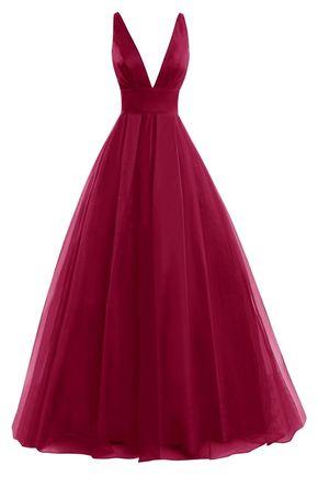 Plunge V Long A-Line Chiffon Evenin - Plunge V Long A-Line Chiffon Evening Gown - Formal Gown, Prom Gown