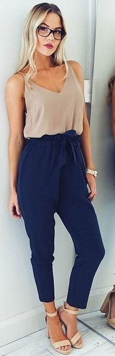 50 Trending Work Outfits For Fall And From Popular Australian Labels - Camel Silk Top + Navy 'Work Up' Pants                                                                             Source