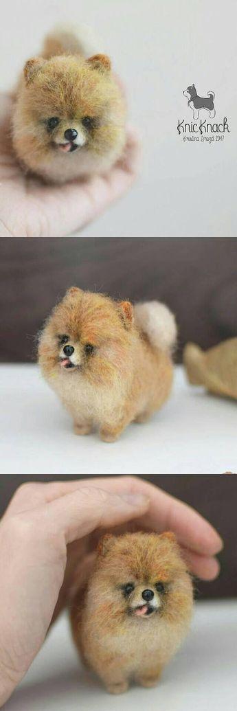 Needle felted Pomeranian cream Spitz Dog SOLD- Custom pet portrait to order - Felt animals - Needle Felting puppy- Wool toy miniature