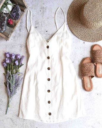 Without you - linen button up dress - ivory