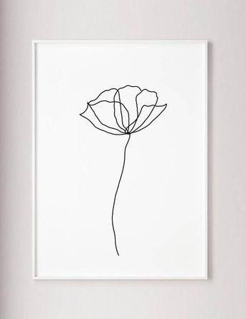 Poppy flower wall line art print, Minimalist modern art decor, one line art, contour drawing, wabi sabi art, black and white botanic poster