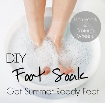 You will need: 1/2 cup Mouthwash (any mouthwash will do; I used Equate) 1/2 cup Vinegar (I used apple cider vinegar) 1 cup Water (of the H20 variety)  Mix them together in a shallow container of some sort.  After the soak, wipe your feet with a towel to remove any loose skin. Voila! Smooth feet!