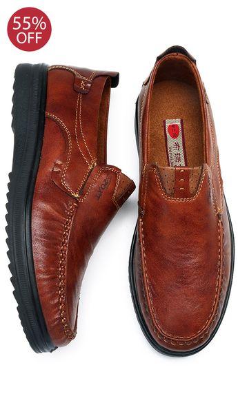 Menico Men Large Size Retro Color Soft Sole Casual Driving Shoes