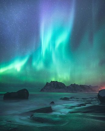 Northern Light Show over Lofoten, Norway Photo by © @eventyr