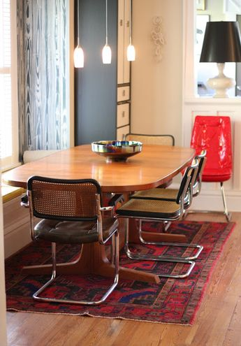 Cesca look a like dining chair with bench seating n vintage dining table exactly what I want to do at my house