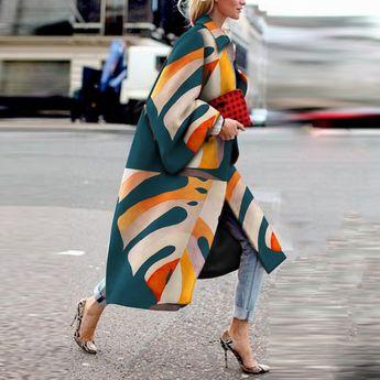 Fashion Printed Colour Long Sleeve Coat – SheDig