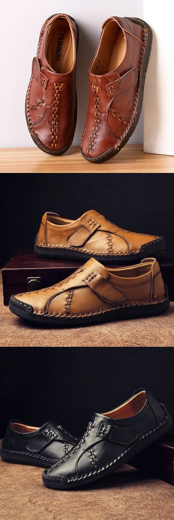 $50.99 USD Menico Men's Vintage Hand Stitcing Hook-Loop Soft Leather Loafers