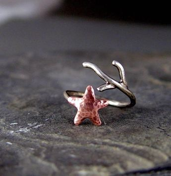 Copper Starfish Coral Branch Adjustable Ring, Nautical jewelry Starfish Ring, MADE to ORDER, Ocean Jewelry, Gifts under 40.00, Handmade