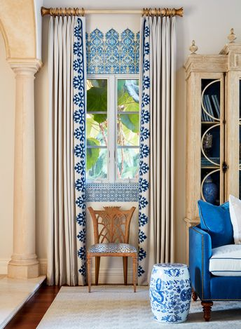 For the Kips Bay Decorator Show House in Palm Beach, Cindy Rinfret designed a sophisticated and inviting entertaining space with an updated Moroccan feel. She used The Shade Store's custom embroidered drapery to balance the proportions of the rather small windows for this large grand space and add character. #KipsBay #KipsBayShowhouse #KipsBayPalmBeach #Windowtreatments #drapery #moroccanstyle #windowideas #livingroomidecor #livingroomideas