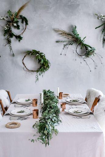 Natural Christmas Décor Inspiration with Asymmetrical wreaths
