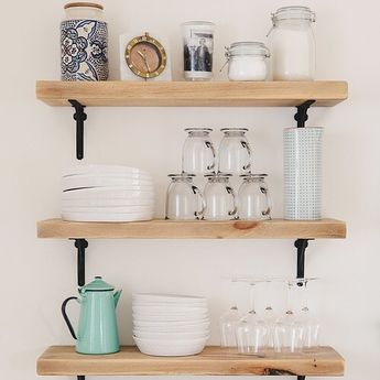Open shelving styled like a pro. (📷 featuring our Arched Shelf Brackets via #SVKInteriorDesign) #kitchendesign #hardware #openshelving #shelfie #RejuveSpotted