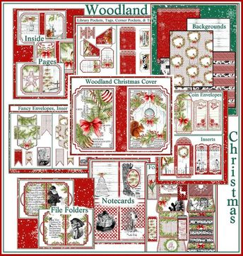 Woodland Christmas Flip Book Journal Kit - 25 Digital Printable Sheets & Assembly Directions with Pi