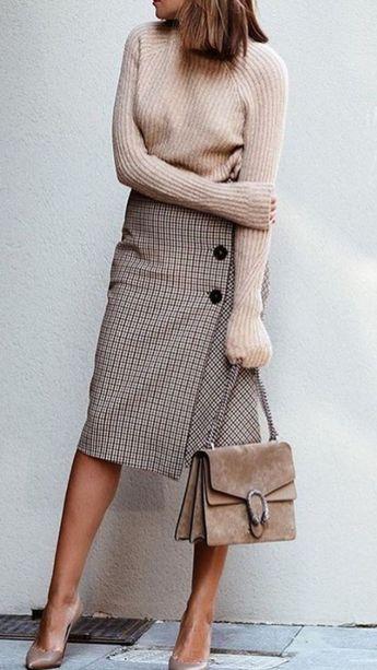 Grey Plaid Button Up Wrap Skirt