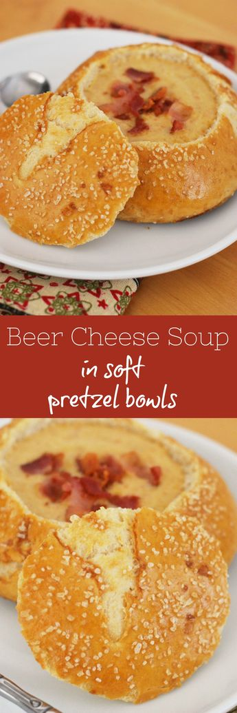 Cheddar Ale Soup in Soft Pretzel Bowls - homemade pretzel  bowls filled with cheesy beer soup! The ultimate comfort food!