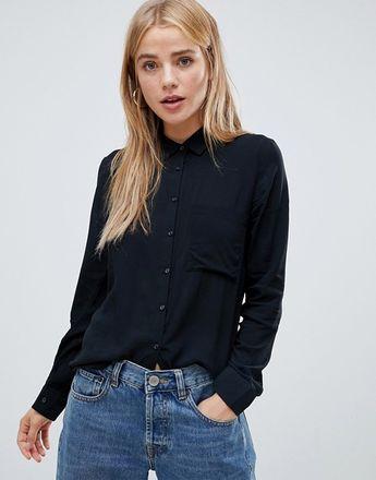 Pull&Bear basic shirt in Black