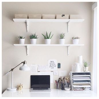 This week I decided I wanted shelves above my desk and I am loving the way they turned out. It's crazy how much plants can make a difference, but these simple little succulents (with a splash of rosemary) give me a hint of nature that I so desperately love to be surrounded by.