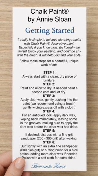 Decor Hacks : ANNIE SLOAN TIPS & TUTORIALS CARD EXCLUSIVELY AT BROCANTE HOME...