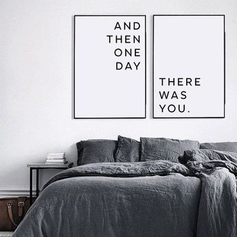 Master bedroom wall decor, Printable wall art, Above bed art, Printable love quote, Affiche scandinave, And then one day there was you