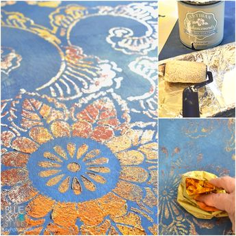 Artisan Enhancements furniture and wall finish using Leaf & Foil Size, foils, a Royal Design Studio stencil and Chalk Paint®   My Patch Of Blue Sky tutorial.