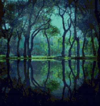Mysterious Twilight Swamp landscape Cross stitch pattern PDF- EASY chart with one color per sheet AND traditional chart! Two charts in one