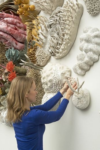 Artist Courtney Mattison installing Our Changing Seas III at the Tang Museum. © Arthur Evans