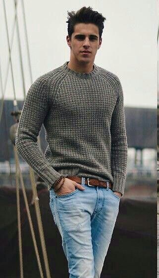 Simple fall casual outfit featuring a gray waffle textured sweater light wash denim jeans brown leather belt wrist accessories  #sweater #denim #casualstyle #casualoutfits #menswear #mensfashion #menstyle #fallfashion #falloutfits