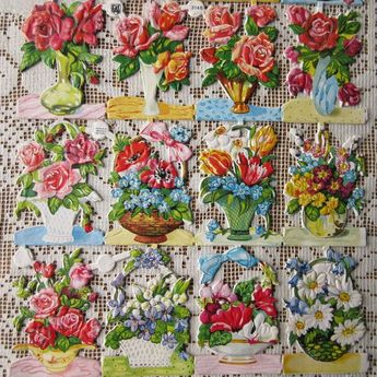 Vintage EAS Germany Die Cut Paper Scraps Of Flower Vases Baskets  EAS 3146