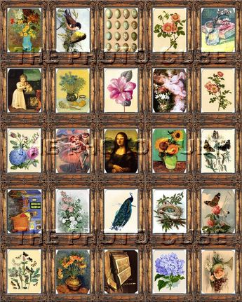 "Miniature Framed Art Classic Works of Art -Mini 1.6""x2"" Tags, Craft Supplies -INSTaNT DOWNLoAD- Prin"