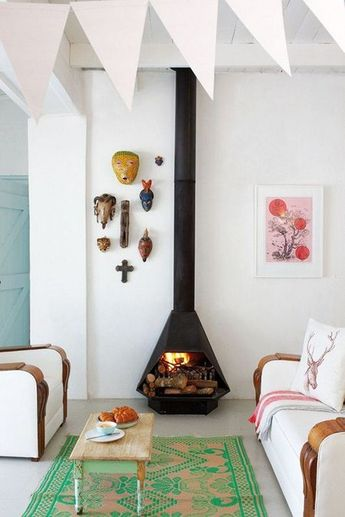 THIS Mid-Century Freestanding Fireplace - (www.nicespace.me)
