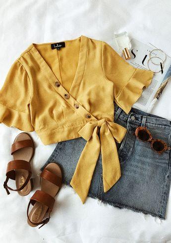 Envie Mustard Yellow Wrap Crop Top
