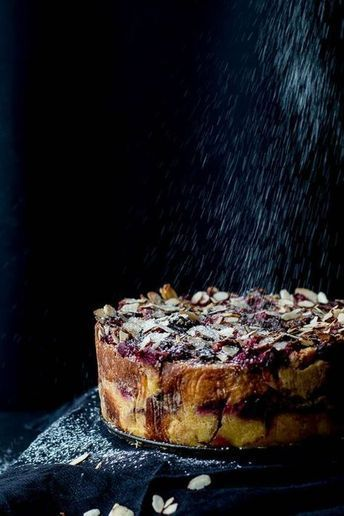 Rhubarb, Raspberry & Dark Chocolate Bread and Butter Pudding Cake