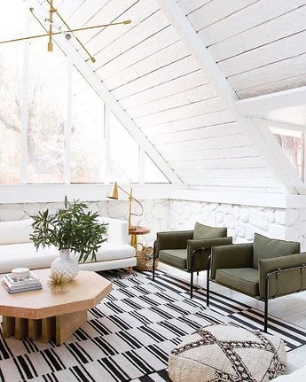 @sarahshermansamuel gave her a-frame living room a drastic makeover and we can't get over the light + bright final result! #linkinprofile to tour + shop. @samuelaframe #sssinteriors #jossfind #interorsinspo