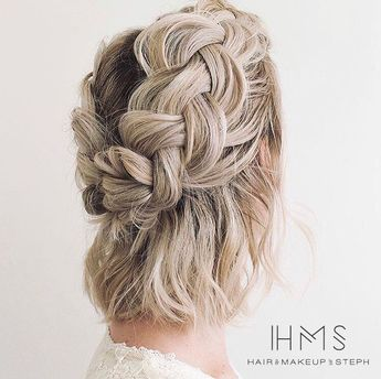 Short hair braided updo  #hair #wedding #bridal #bride #updo #romantic #inspiration #specialoccasion #homecoming #prom #bridesmaid #short