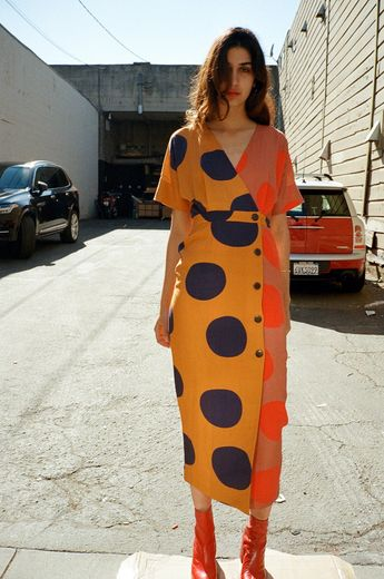 Amrita Dress - Navy Mustard