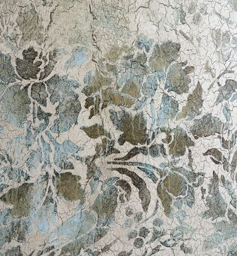 Close up of crackle, glaze, and Modern Masters reactive Harvest Gold paint and Blue Patina RDS stencils. Work by Tiffany Alexander of Blank Canvas Design Studio.