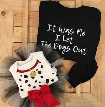 Dalmatian Who Let the Dogs Out Mommy and Me Halloween Costume .. Children's Dalmatian Onesie .. Baby