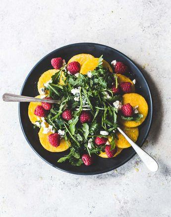 Raspberry Arugula Polenta Salad
