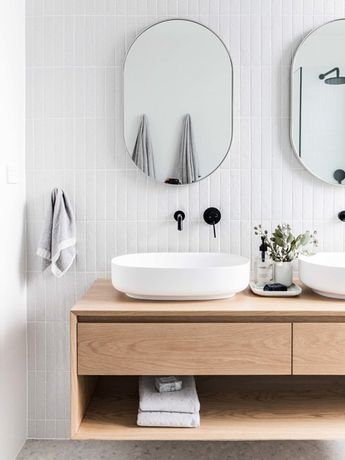 If you want to make your own bathroom vanity similar in style to the ones shown here, we've included a basic step-by-step pictorial at the bottom of this page.