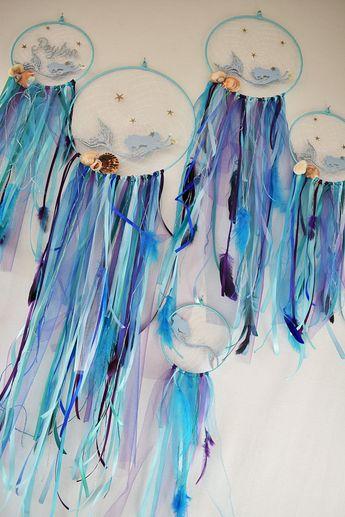 Mermaid dream catcher Sea dreamcatcher nautical beach decor Ocean wall hanging Mermaid gift Birthday present Mermaid nursery Mermaid gift