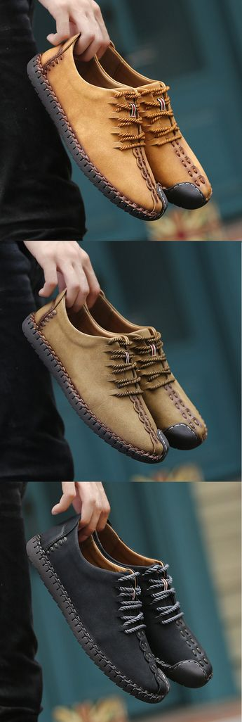 $38.29 USD Men British Style Retro Stiching Soft Sole Lace Up Flat Cap-toe Shoes