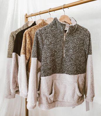 'Aspen' Two-Tone Half-Zip Fleece Pullover (3 Colors)