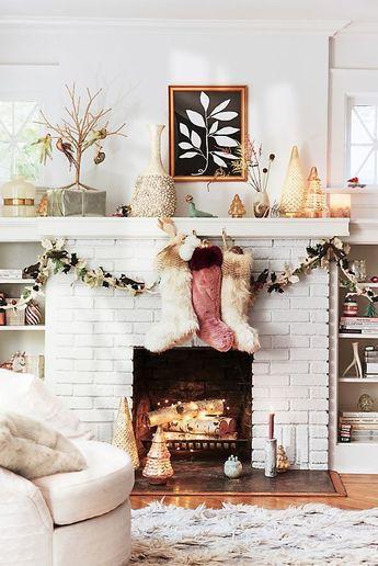 Cozy Fireplace Inspiration And Christmas Mantel Decor
