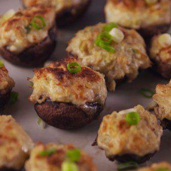 Crab Artichoke Stuffed Mushrooms