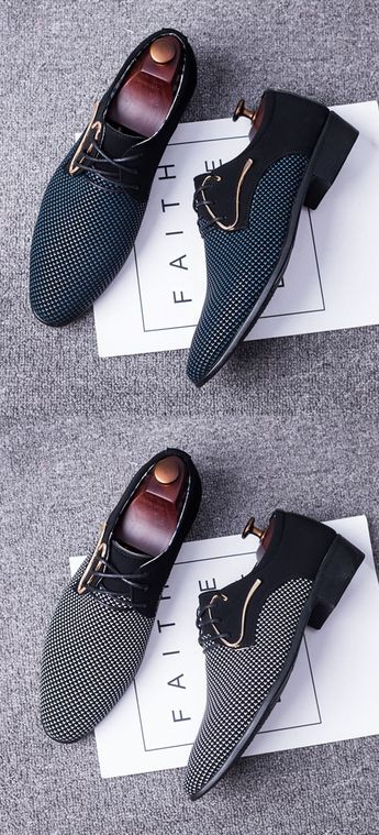 $25.99 USD Large Size Men Stylish Splicing Leather Casual Formal Dress Shoes