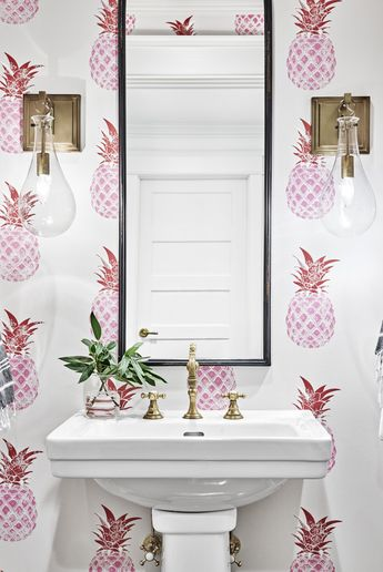 Live this pineapple wall paper, pineapple powder room, pineapple bathroom