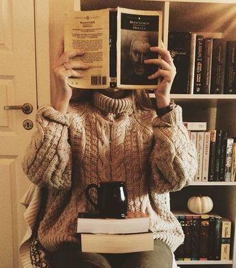 Immagine di book, sweater, and coffee