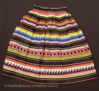 "Florida Ethnographic Collection: Woman's skirt, Miccosukee, cotton cloth and thread, early 20th century, 30.7"" top to bottom  (87-1-1)."