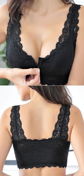 Zip Front Cotton Lining Gather Wireless Soft Lace Comfort Embroidery Bra