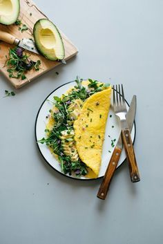 "Breakfast For Dinner: ""Cream Cheese"" Omelettes w/ Balsamic Greens 